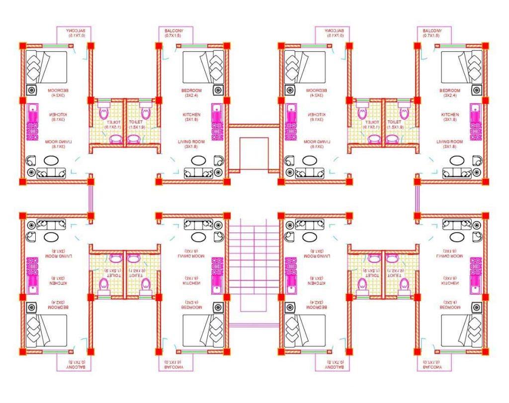 1rk Apartment Floor Plan Autocad Dwg File Built Archi