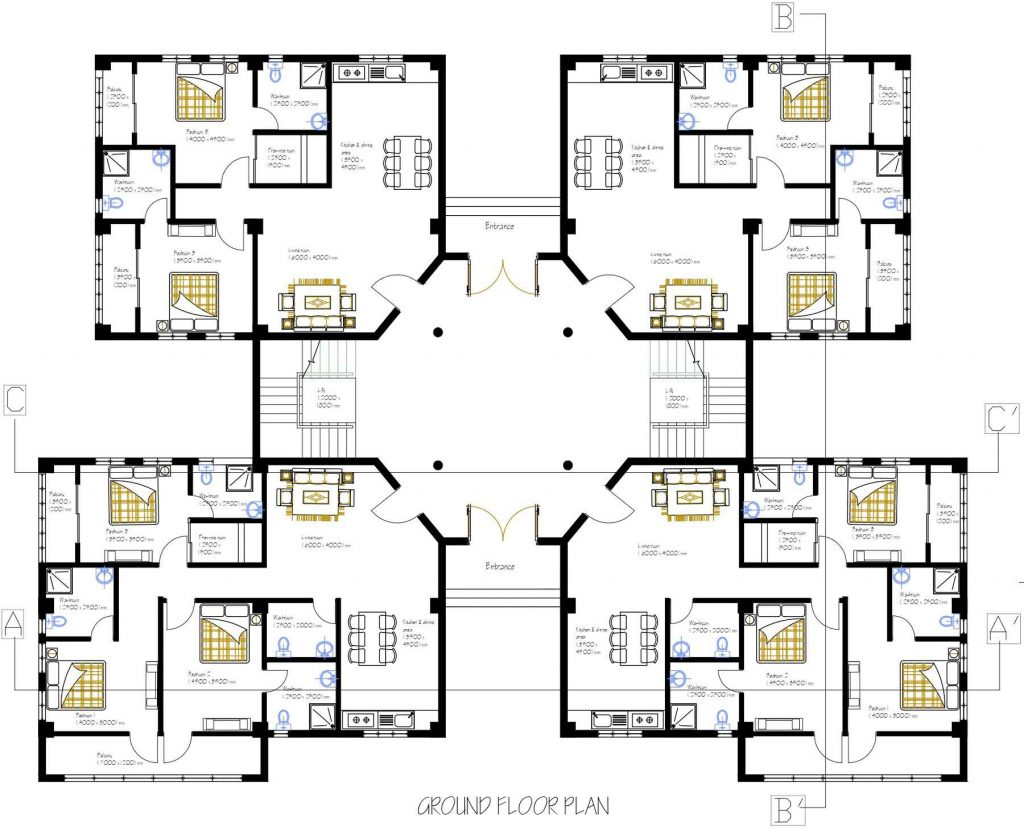 2BHK and 3BHK Apartment floor plans, elevations, sections ...