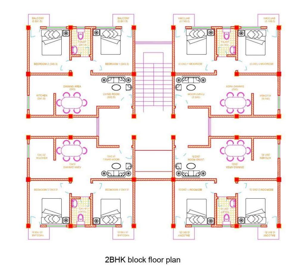 2bhk Apartment Floor Plan Autocad Dwg File Built Archi