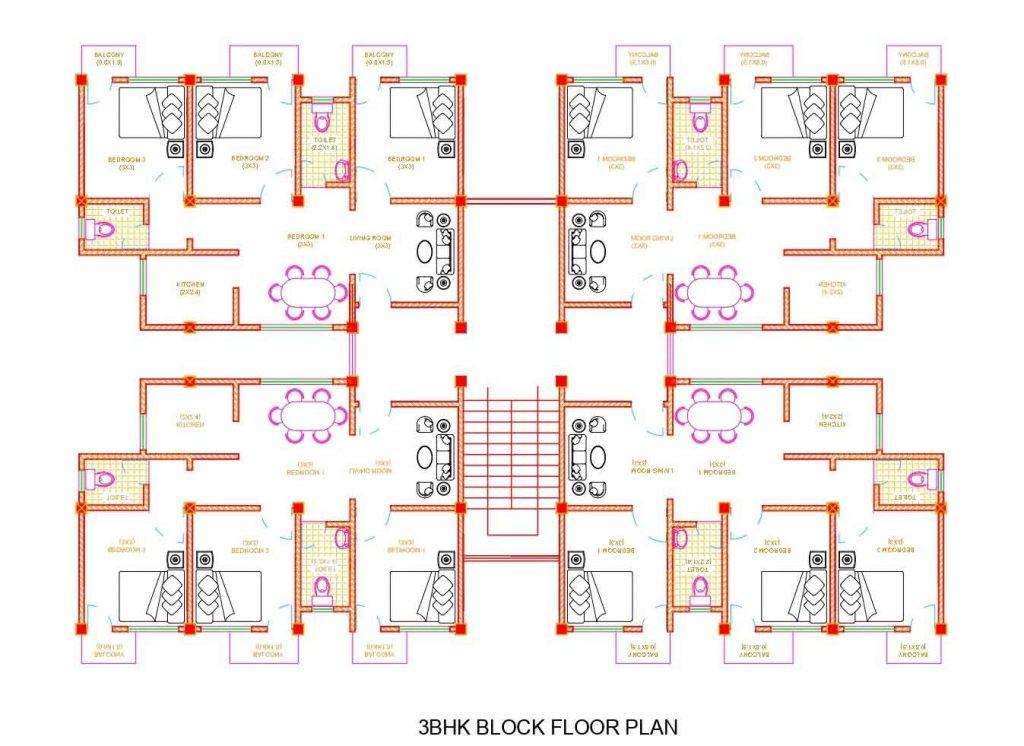 3bhk Apartment Floor Plan Autocad Dwg File Built Archi