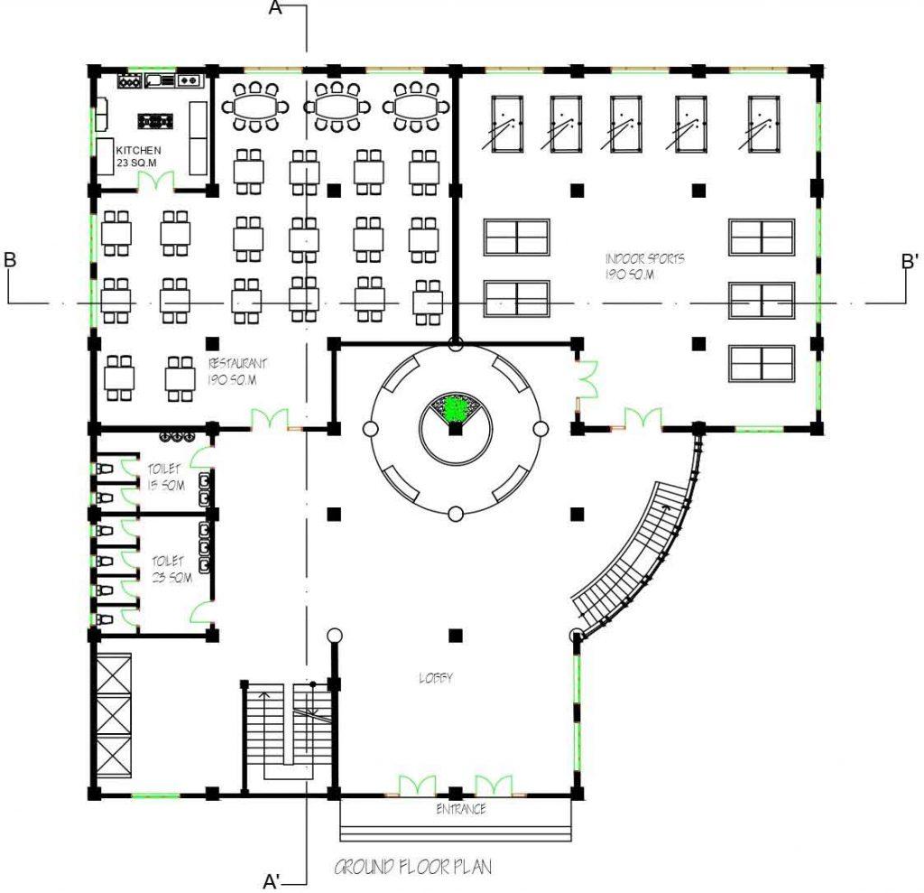 Mix-use building floor plan details