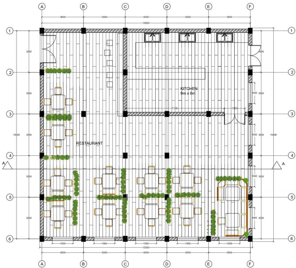 Restaurant floor plan, reflected