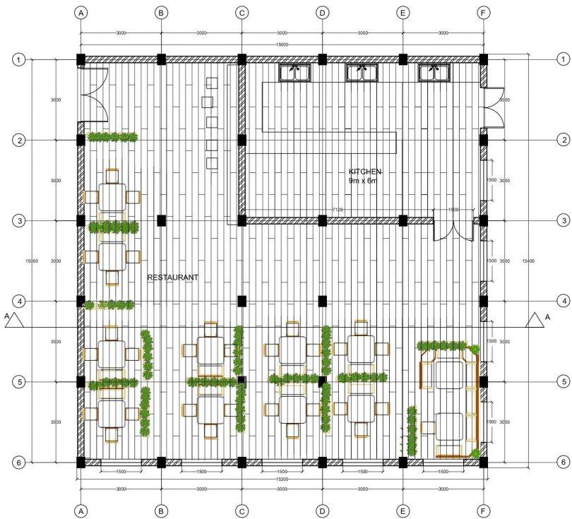Restaurant floor plan details | Built Archi